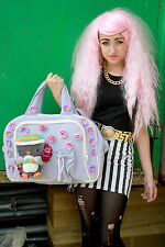 PENGUIN TEDDY FLOWER LILAC PASTEL LARGE HOLDAY SCHOOL GYM BAG GOTH INDIE GRUNGE