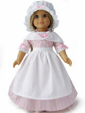5 Piece Set Pink Striped Colonial Work Gown for American Girl Doll Clothes