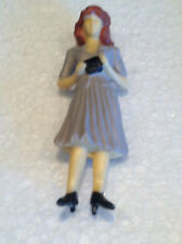 G Scale Figure: Full-Color Standing Female + Purse in Gray Dress + Red Hair