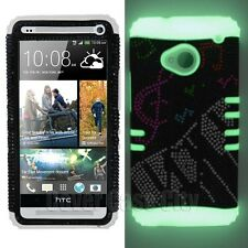 Keyboard Music Notes Crystal Diamond Glow in Dark Skin Cover Case for HTC ONE M7