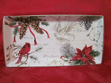 222 FIFTH HOLIDAY WISHES CARDINAL CHRISTMAS APPETIZER COOKIE TRAY PLATTER NEW
