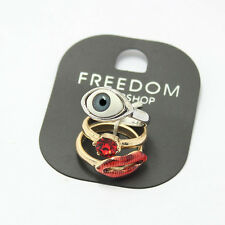 SALE!!TOPSHOP Freedom Set of 3 Rings - Sexy Red Lips, Ruby Rhinestone, Eye