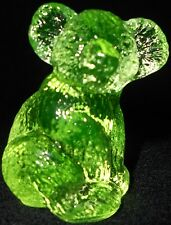 Neon Green Vaseline Hazel Koala Bear glass Figurine Paperweight / uranium yellow