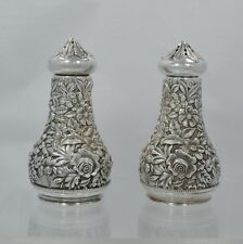 "S. Kirk & Son Sterling Silver Repousse Salt & Pepper Shakers 3"" Tall"