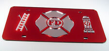 FIRE FIGHTER RESCUE MALTESE CROSS MIRRORED LASER  LICENSE PLATE INLAID ACRYLIC