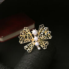 Light Gold Butterfly Pearl Filigree Lace Brooch Pins Wedding Accessories De