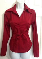 CHARLOTTE RUSSE Flattering Dark Red Maroon Blouse Stretch Shirt SMALL Career