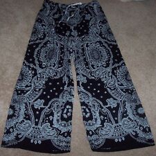 NWT DKNY $62 Black/White PAISLEY PALAZZO Lounge Pants 1X Flowing Rayon POCKETS