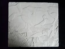 Egyptian Papyrus Birds Swamp Plaque Relief 28cm Hand Made Gypsum Plaster New