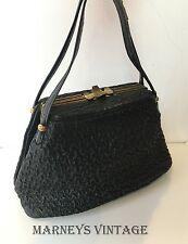 Vintage 1950s Black Textured Leather Boxy Handbag 30s 40s 50s Box Bag Art Deco