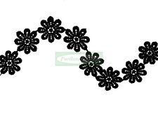 22mm Large Black Daisy Guipure Lace Trim - 1 Metre (Applique, Edge)