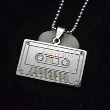 Silver Tone Stainless Steel Cassette Type Pendant Necklace 60CM
