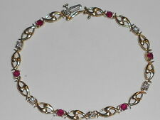 14K YELLOW GOLD TENNIS BRACELET WITH DIAMONDS AND RUBIES (18QL)