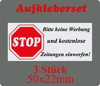 """3 mal Briefkasten Aufkleber """" STOP bitte keine Werbung einwerfen """"  50 x 22 mm"""