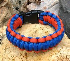 Premium 550 Paracord Survival Bracelet Blue and Orange With 5/8 Plastic Buckle