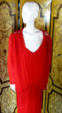 Vintage J HARRIS 1920s Flapper Style Red Crepe Drop Waist Dress Fringed Detail 8