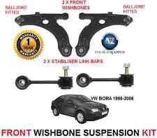Para Vw Bora 1998-06 Frontal 2 Wishbone armas 2 Estabilizador enlace bares Kit de Suspensión