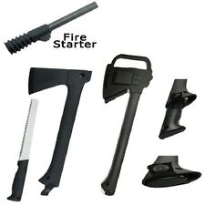 "NEW Tactical Hunting Set w/ 14"" Axe 11.9"" Saw + Fire Starter Survival Blade"