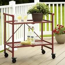 Red Utility Cart On Wheels Serving Table Folding Trolley Metal Beverage Server