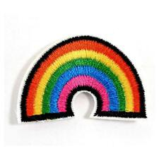"""TINY RAINBOW IRON ON PATCH 1.5"""" Embroidered Applique Gay Lesbian Pride Flag NEW"""