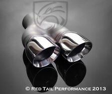 "T304 Exhaust Muffler Tip Dual 3"" OD Round Double Walled Staggered 2.25"" Inlet"