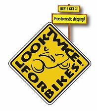 Look Twice for Bikes Motorcycles 3x3 Yellow Warning Label Sticker Decal Check 2x