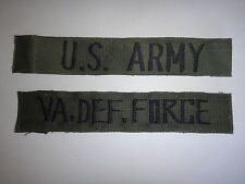 U.S. ARMY Pocket Tape + VA DEF. FORCE Patch *Removed From Shirt*
