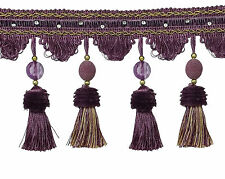 "5""  Large Tassel Fringe Embellished with Beads - Plum Purple, Gold (Sold by The"