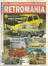 RETROMANIA 126 SIMCA RALLYE 2 PEUGEOT 404 PICK-UP BMW 501 BMW 502 LE CAP PARIS