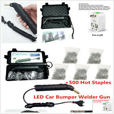 Universal LED Hot Stapler Plastic Repair kit Car Bumper Welder Gun+500 Staples