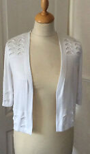 MARKS & SPENCERS .. PER UNA .. WHITE BUTTONLESS BOLERO CARDIGAN .. UK SIZE 8 M&S