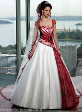 Custom white and red satin embroidery Wedding bridal Dress gown Size 8-22