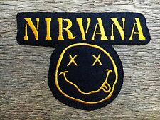 """Nirvana Band embroidered iron on patches appliques 4""""x3"""" Black&Yellow"""