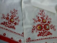 Vintage antique style embroidered linen table runner mat Folk Art style