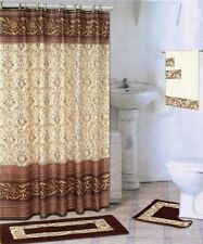 18 Piece Bath rug set SCROLL COFFEE brown bathroom shower curtain/rings towels