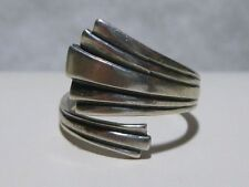 CELLINI SPOON FORK TYPE STERLING SILVER WOMENS ADJUSTABLE RING BAND MODERN