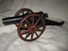 "Antique Toy Cast Iron Cannon 12"" Overall Good Condition Original Paint"
