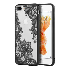 for iPhone 7+ Plus - Hard TPU Gummy Rubber Slim Case Cover Black Lace Flowers