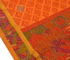Vintage Saree Art Silk Hand Beaded Zari Border Printed Sari Fabric Rusty Orange