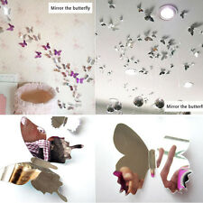 12 Pcs 3D Silver Butterfly Wall Sticker Decal Mirror Wall Home Bedroom Art Decor