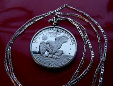 AMERICAN EAGLE PROOF DOLLAR Coin (choice of length) .925 Sterling Silver Chain
