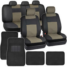 Beige & Black PU Leather Seat Covers for Car Auto Front & Rear Carpet Floor Mats