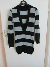 Short Black & Grey Low V Neck Jumper Dress in Size 10