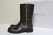 New sz 6.5 / 36.5 Jimmy Choo Durum Brown Leather Side Zip Moto Biker Boot Shoes