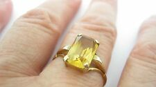 Art Deco 9ct Emerald Cut Citrine Gem Ring UK Size P - 1.8 Grammes