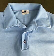 True Vintage 70s 80s Wrangler Solid Blank Baby Blue Rugby Polo Size 18 S/M