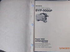 SONY BVP900P CAMERA SUPER MOTION  MAINTENANCE  MANUAL