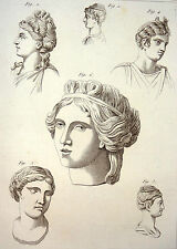 Encyclopédie Méthodique Antiquités Mythologie Coiffures des Grecs Barbares 1786