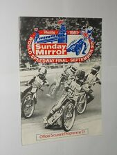 Sunday Mirror World Speedway Final Programme. Wembley September 5th 1981.