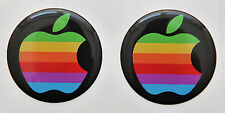 2 x 3D Glossy, domed Rainbaw Apple logo decals/stickers for iPhone, iPad cover